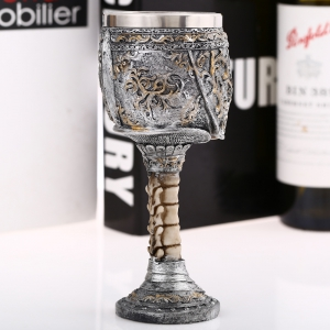 Creative Vintage King Knight Skeleton Skull Style Goblet Retro Wine Mug Party Decoration - SILVER
