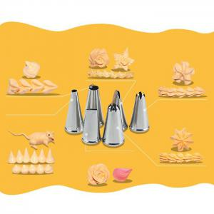 6PCS Stainless Steel Cake Nozzles Mouth Pastry Making Squeezer -