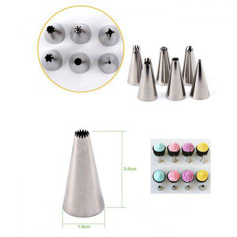6PCS Stainless Steel Cake Nozzles Mouth Pastry Making Squeezer - SILVER