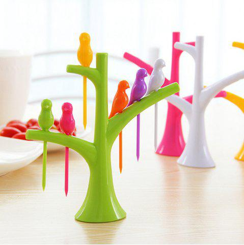 New 6Pcs Creative Birds on Tree Fruit Fork Set with Holder Desk Decors - GREEN  Mobile
