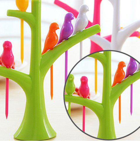 Unique 6Pcs Creative Birds on Tree Fruit Fork Set with Holder Desk Decors - GREEN  Mobile