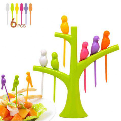 Discount 6Pcs Creative Birds on Tree Fruit Fork Set with Holder Desk Decors - GREEN  Mobile