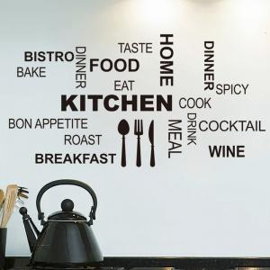 PVC Kitchen Cook Letter Style Wall Stickers Removable Water Resistant Home Art Decals -