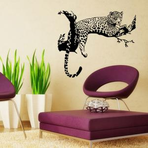 PVC Leopard Shape Decorative Wallpaper Wall Stickers Water Resistant Home Art Decals -