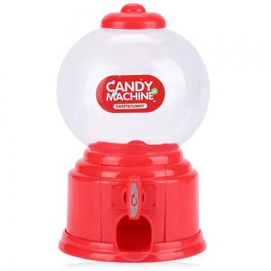 Cute Mini Candy Gumball Dispenser Vending Machine Saving Coin Bank Kids Toy - Red