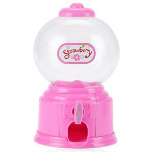 Cute Mini Candy Gumball Dispenser Vending Machine Saving Coin Bank Kids Toy - Pink - Spanish