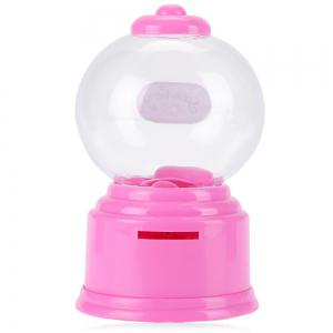 Cute Mini Candy Gumball Dispenser Vending Machine Saving Coin Bank Kids Toy - PINK