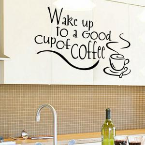 PVC Wake Up To Letter Style Wall Sticker Removable Water Resistant Home Art Decals - BLACK