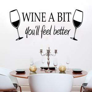 PVC Wine Glass WINE A BIT Letter Style Wall Stickers Water Resistant Home Art Decoration - Black