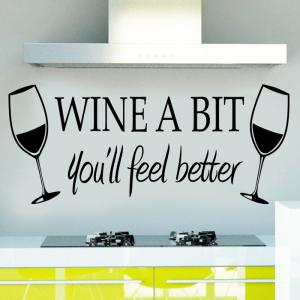 PVC Wine Glass WINE A BIT Letter Style Wall Stickers Water Resistant Home Art Decoration -