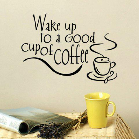 Best PVC Wake Up To Letter Style Wall Sticker Removable Water Resistant Home Art Decals BLACK