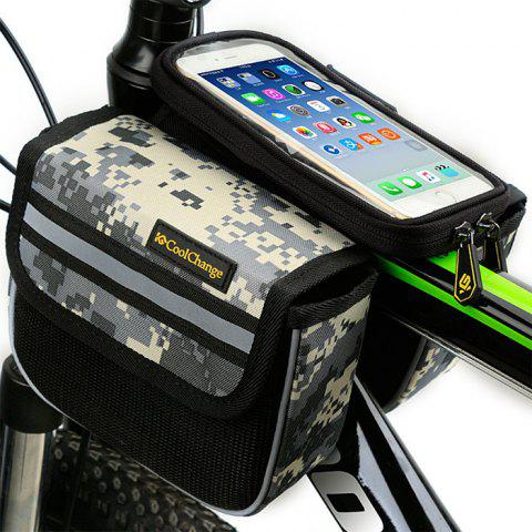 Hot CoolChange 5.7 inches Bicycle Front Tube Bag Reflective Stripe Edge -   Mobile