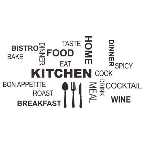 Outfit PVC Kitchen Cook Letter Style Wall Stickers Removable Water Resistant Home Art Decals