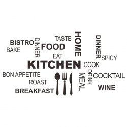 PVC Kitchen Cook Letter Style Wall Stickers Removable Water Resistant Home Art Decals - BLACK
