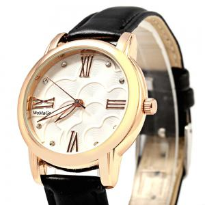 Womage 1142A Diamond Scales Golden Case Genuine Leather Band Female Quartz Watch -