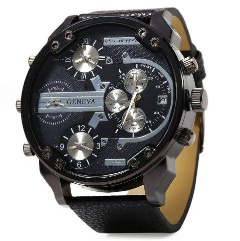 Geneva 448 Decorative Sub-dial Date Function Leather Band Multi-movt Male Quartz Watch - Black