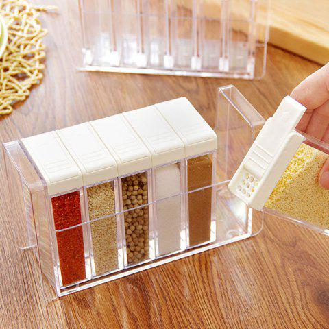 Unique Transparent Plastic 6 Case Seasoning Box Spice Salt Storage Case Kitchen Supplies