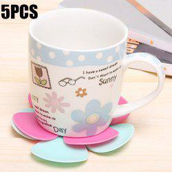 5PCS Silicone Flower Shape Heat Insulation Mat Table Surface Protector Pad -