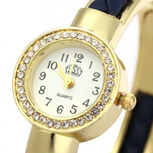 USS 1443 Female Quartz Watch Bracelet Diamond Round Dial Leather Steel Wristband -