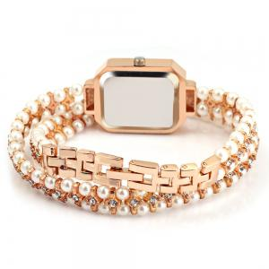 IE-LY 627 Female Diamond Quartz Watch with Pearl Band Octagon Dial Stainless Steel Wristband -