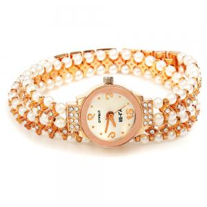 IE-LY 629 Female Diamond Quartz Watch with Pearl Band Round Dial Stainless Steel Wristband -