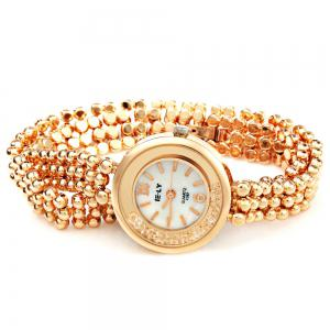 IE-LY E057 Female Quartz Watch with Stainless Steel Band Round Dial Gravel Diamond - ROSE GOLD