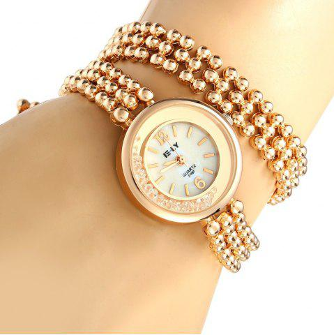 Hot IE-LY E057 Female Quartz Watch with Stainless Steel Band Round Dial Gravel Diamond ROSE GOLD