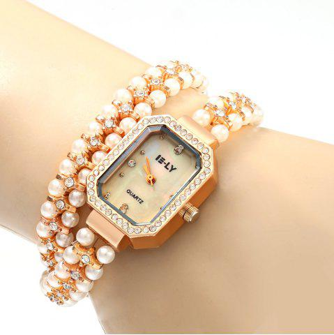 Latest IE-LY 627 Female Diamond Quartz Watch with Pearl Band Octagon Dial Stainless Steel Wristband