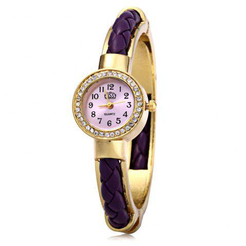 Shop USS 1443 Female Quartz Watch Bracelet Diamond Round Dial Leather Steel Wristband