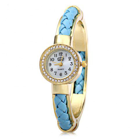 USS 1443 Female Quartz Watch Bracelet Diamond Round Dial Leather Steel Wristband - Blue - 7