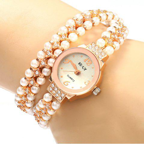 Sale IE-LY 629 Female Diamond Quartz Watch with Pearl Band Round Dial Stainless Steel Wristband