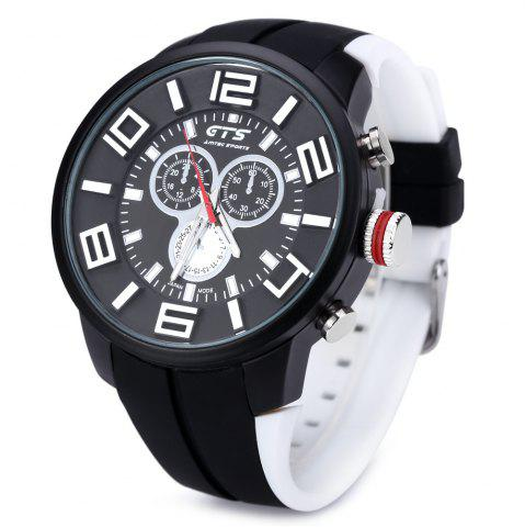 New GTS 1004 Double Scales Decorative Sub-dial Male Japan Quartz Watch Silicone Band