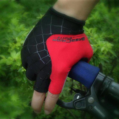 Hot BaseCamp BC-202 Super Breathable Grid Fabric Unisex Half-finger Cycling Gloves -   Mobile