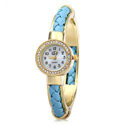USS 1443 Female Quartz Watch Bracelet Diamond Round Dial Leather Steel Wristband