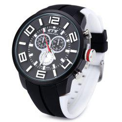 GTS 1004 Double Scales Decorative Sub-dial Male Japan Quartz Watch Silicone Band -
