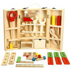 Wooden DIY Tool Kit Hand Box Repair Equipment Simulation Educational Toy for Kid Gift - WOOD