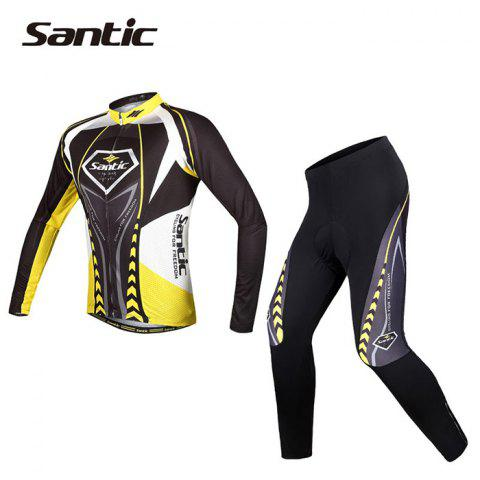 Trendy Santic WMCT039 Male Cycling Long Sleeves Suit 4D Stereo Cushion -   Mobile
