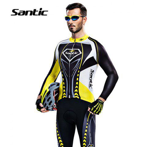 Best Santic WMCT039 Male Cycling Long Sleeves Suit 4D Stereo Cushion -   Mobile