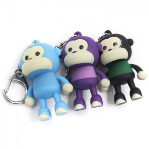 ABS Monkey Shape Key Chain Hanging Pendant Movie Product Voice Light Control Key Bag Decoration -