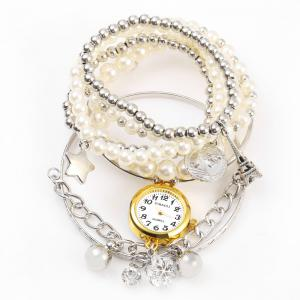 JUBAOLI 1107 Multilayer Quartz Chain Watch Snowflake Pendant Round Dial for Women -