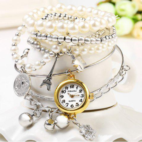Outfit JUBAOLI 1107 Multilayer Quartz Chain Watch Snowflake Pendant Round Dial for Women