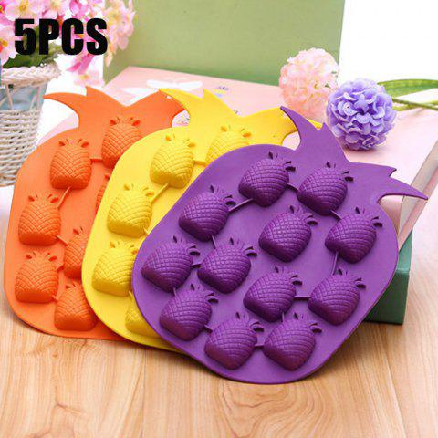 Online 5PCS Pineapple Shape Silicone DIY Ice Mold Cool Drinks Chocolate Soap Making Tool COLORMIX