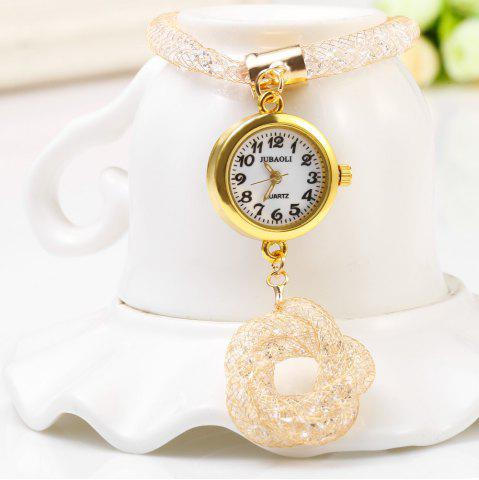 Hot JUBAOLI 1111 Female Quartz Shiny Stainless Steel Mesh Band Flower Pendant