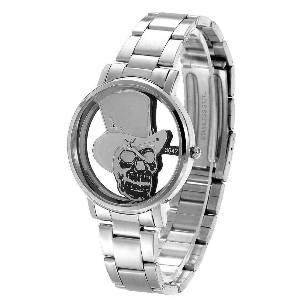 Affordable DayBird 3642 Skull Face Quartz Watch Stainless Steel Band