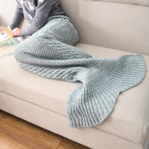 Crocheted / Knited Mermaid Tail Style Blanket - BLUE GRAY - ADULT