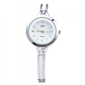 JW 3388 Nail Scale Circular Dial Female Quartz Watch Alloy Band - SILVER