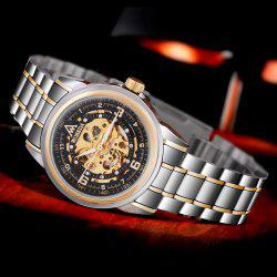 WOERDA Business Style Black Male Automatic Mechanical Watch with Whole Hollow-out Dial