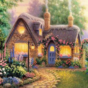Beautiful Garden Hut Landscape Diamond Painting Crystal Rhinestone Cross-stitch Fantastic Drawing Home Art Decoration - Green - No.05