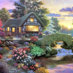 Beautiful Garden Hut Landscape Diamond Painting Crystal Rhinestone Cross-stitch Fantastic Drawing Home Art Decoration - Blue - No.05