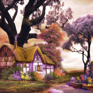 Beautiful Garden Hut Landscape Diamond Painting Crystal Rhinestone Cross-stitch Fantastic Drawing Home Art Decoration - Purple - No.05